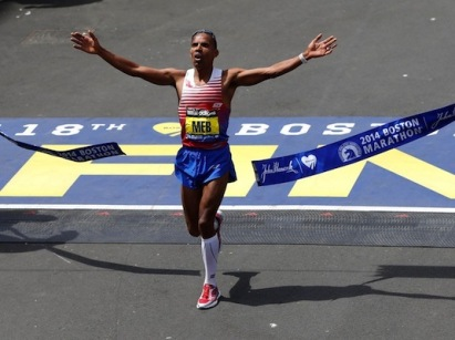American Meb Keflezighi's  final stride of  his emotional Boston victory